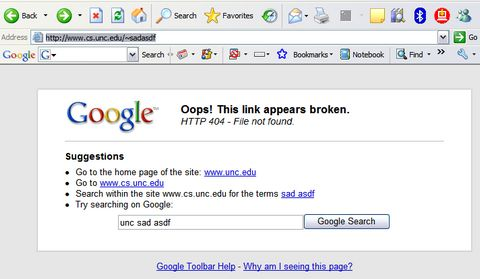 google toolbar 404 error